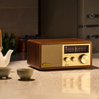 SANGEAN Bruce Home Small Retro Log Bluetooth Speaker Gold
